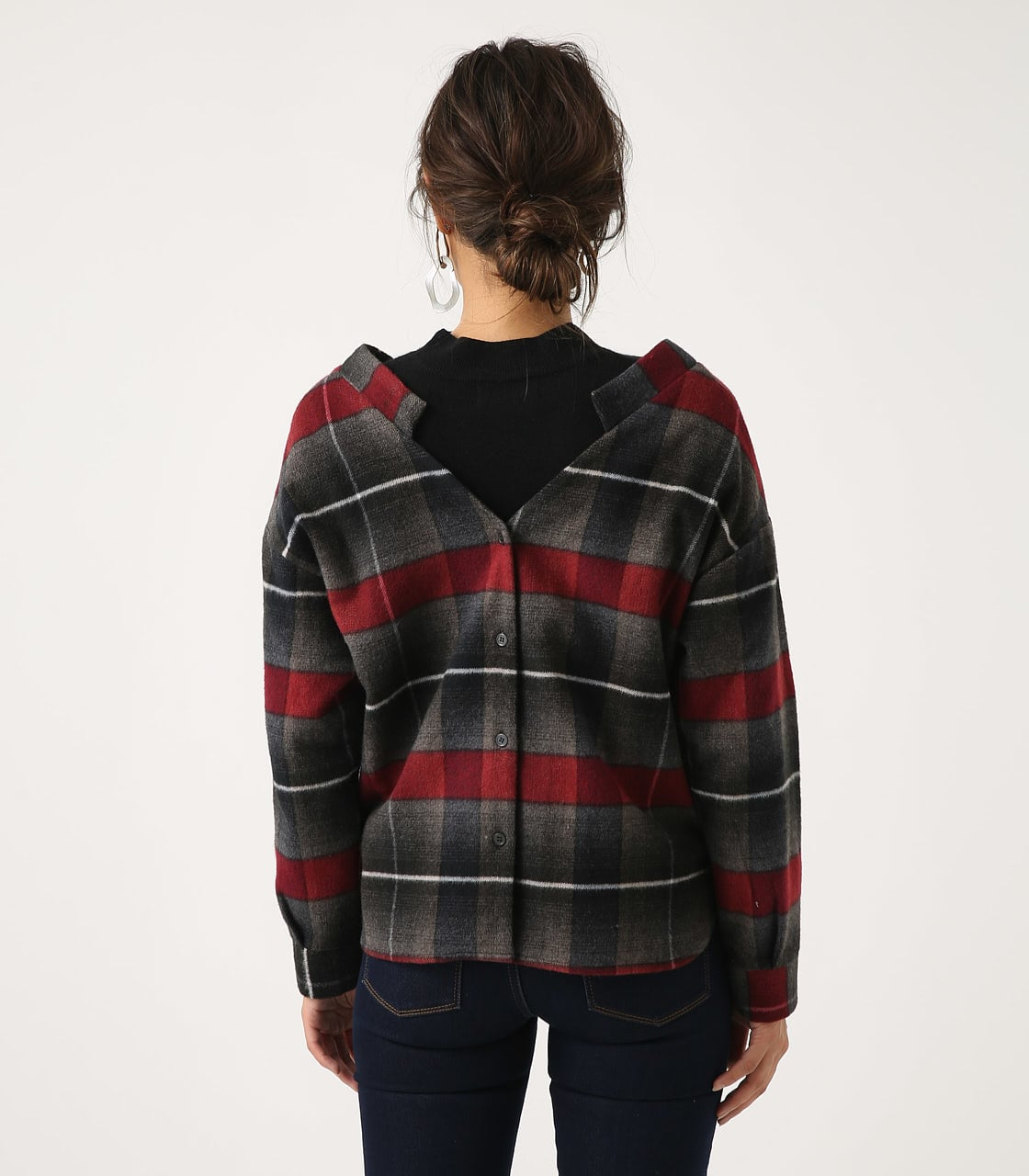 【AZUL BY MOUSSY】シャギーチェック2WAYプルオーバー 詳細画像 柄RED 7