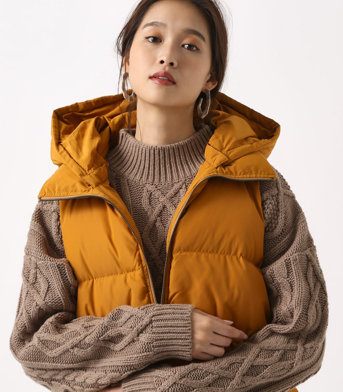 【AZUL BY MOUSSY】スタイルアップ中綿ベスト  詳細画像 D/YEL 3