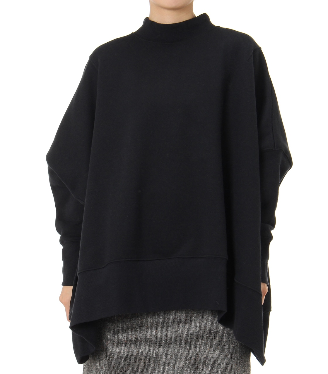 【AZUL BY MOUSSY】変形ドルマン裏毛チュニック 詳細画像 BLK 1