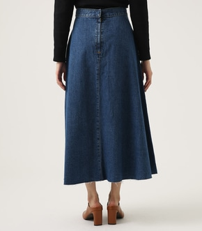 CUT OFF FLARE DENIM LONG SKIRT 詳細画像
