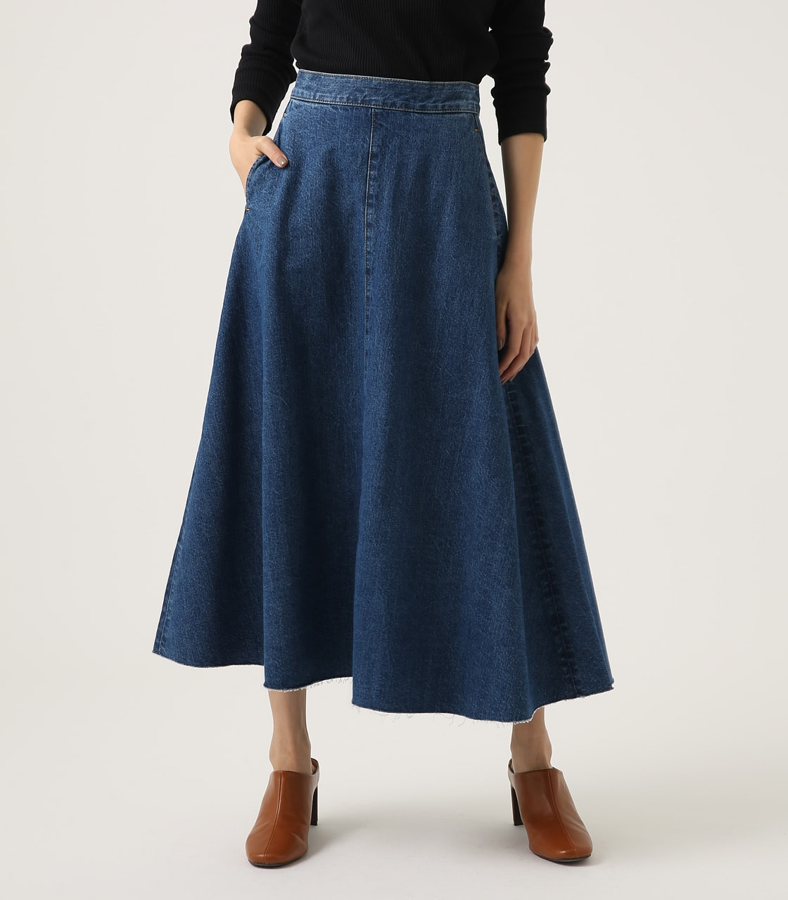 CUT OFF FLARE DENIM LONG SKIRT 詳細画像 BLU 1