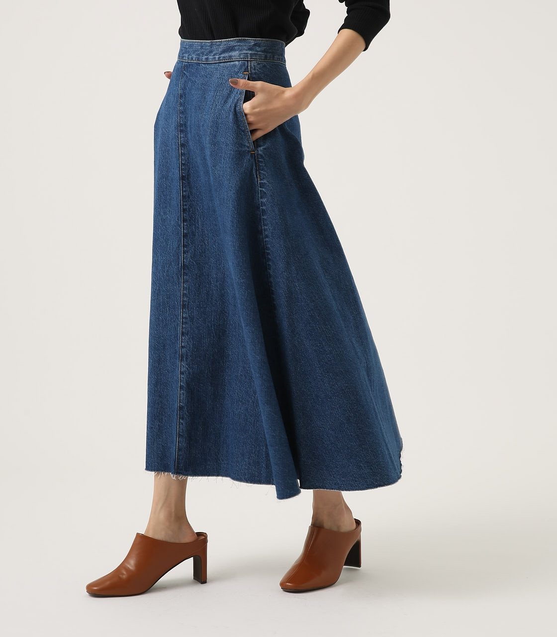 CUT OFF FLARE DENIM LONG SKIRT 詳細画像 BLU 2