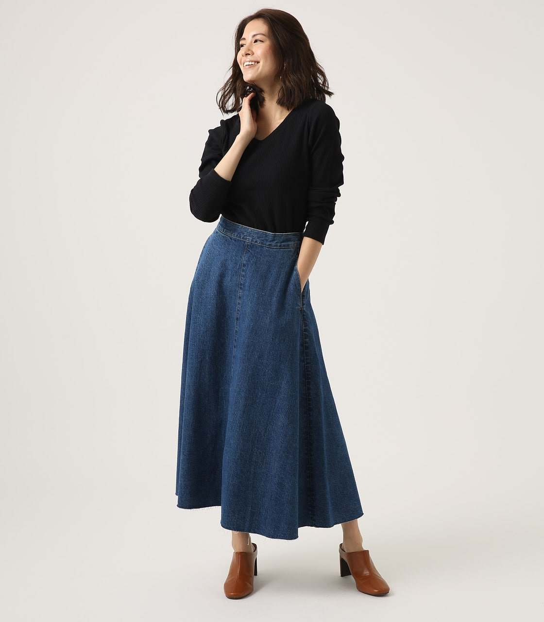 CUT OFF FLARE DENIM LONG SKIRT 詳細画像 BLU 3