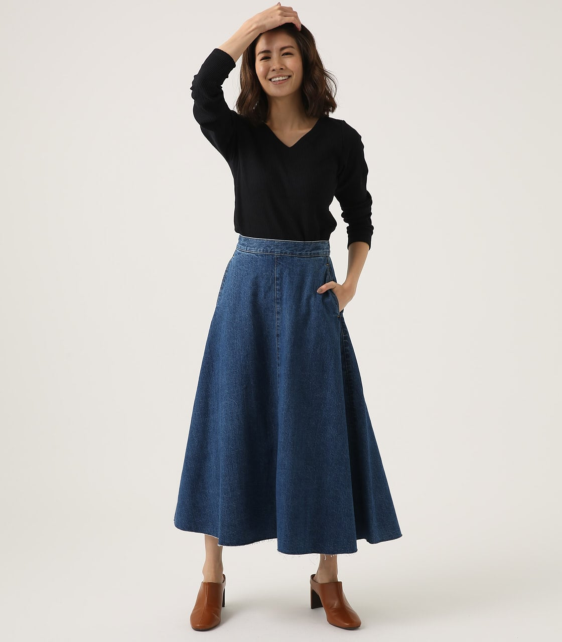 CUT OFF FLARE DENIM LONG SKIRT 詳細画像 BLU 4