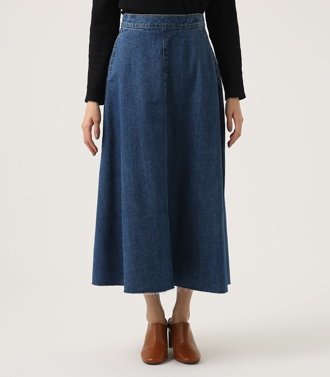 CUT OFF FLARE DENIM LONG SKIRT 詳細画像 BLU 5