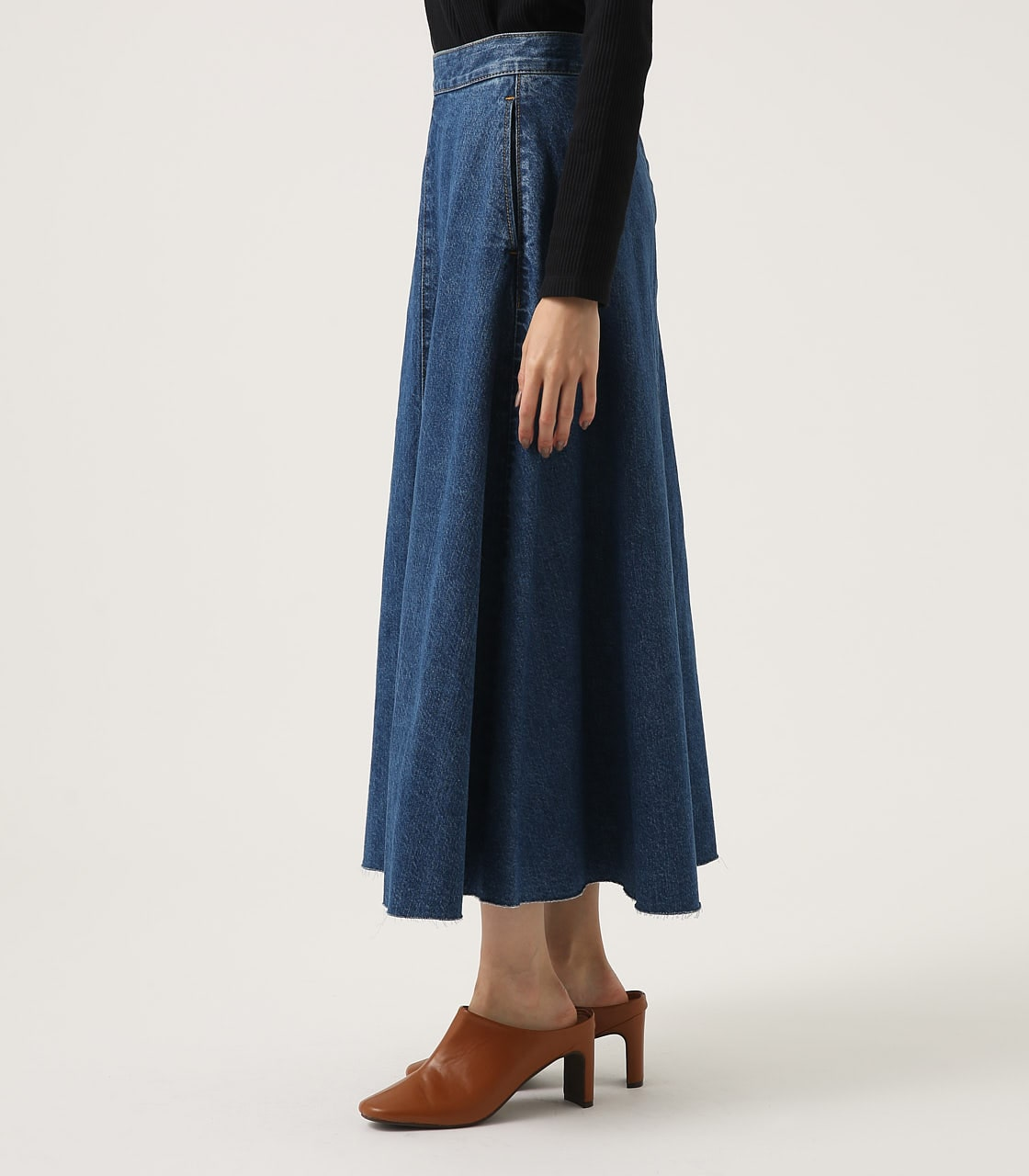 CUT OFF FLARE DENIM LONG SKIRT 詳細画像 BLU 6