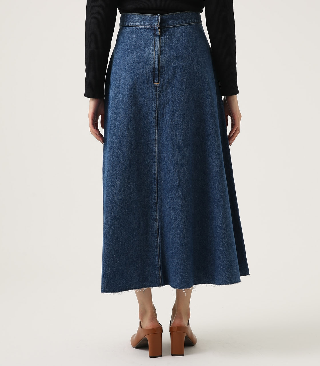 CUT OFF FLARE DENIM LONG SKIRT 詳細画像 BLU 7