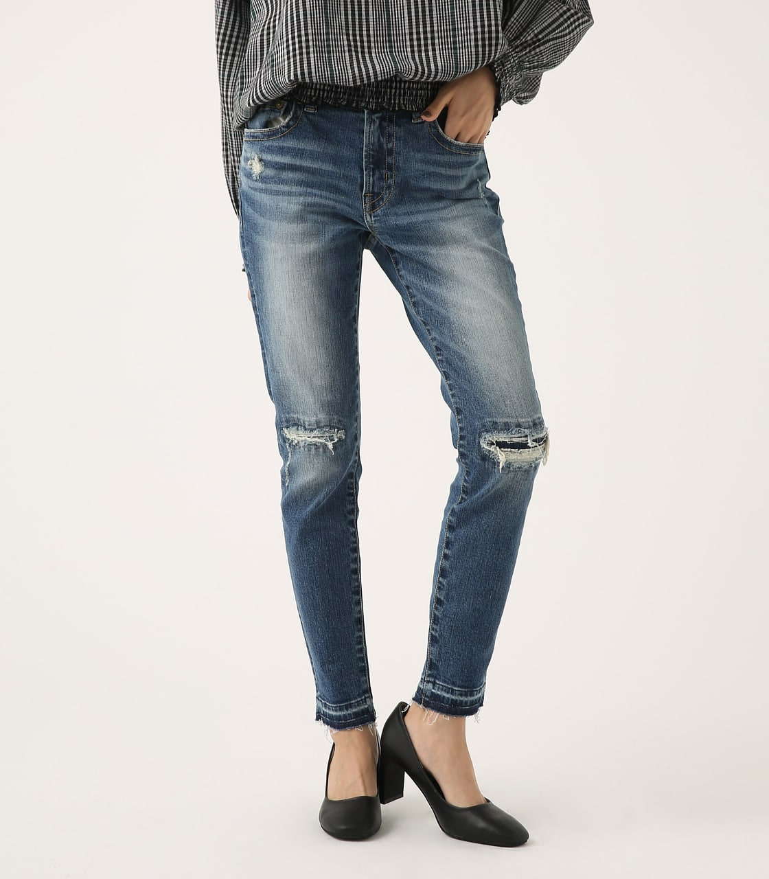 【AZUL BY MOUSSY】REPAIR DENIM SKINNY 詳細画像 BLU 1