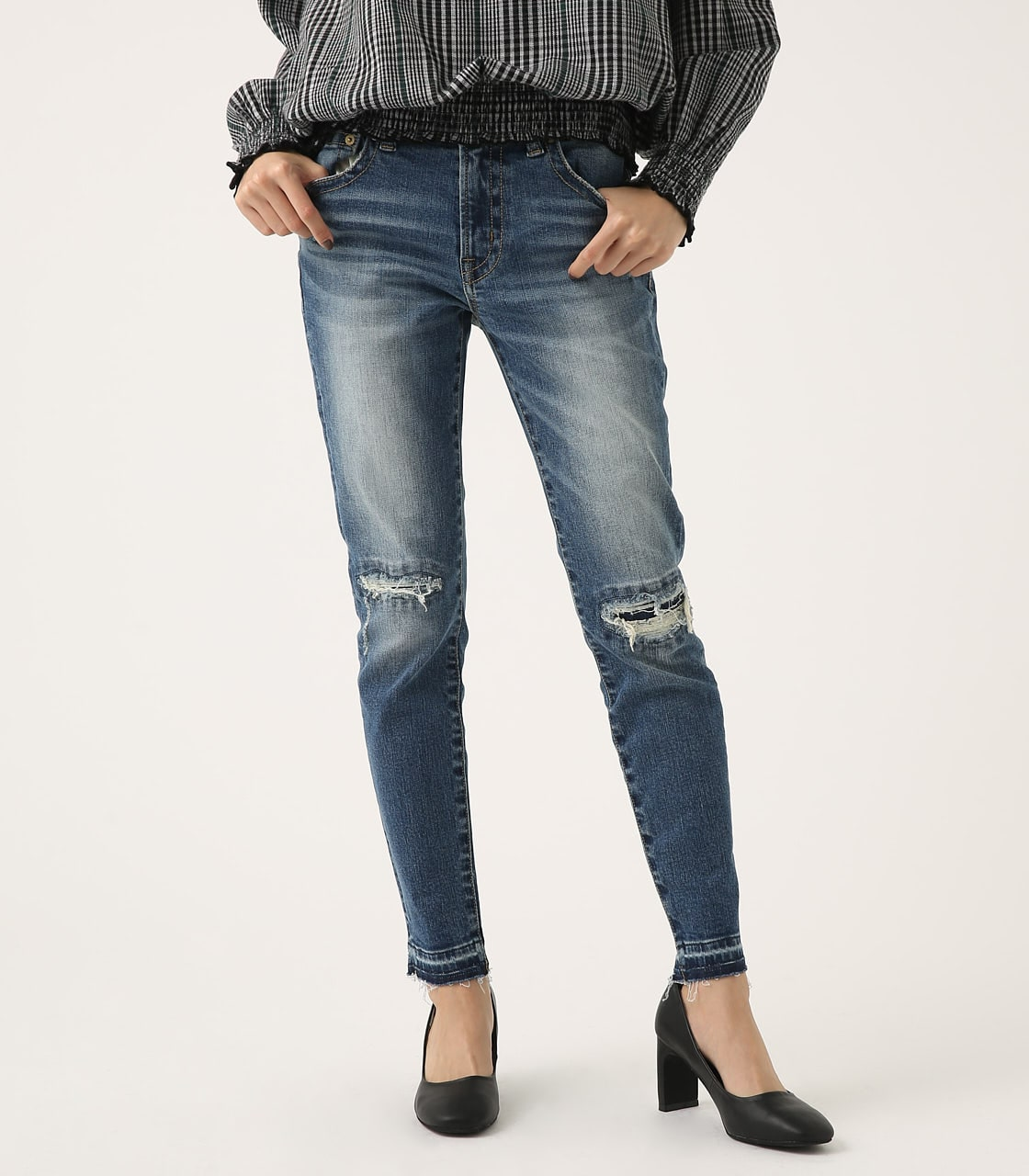 【AZUL BY MOUSSY】REPAIR DENIM SKINNY 詳細画像 BLU 2