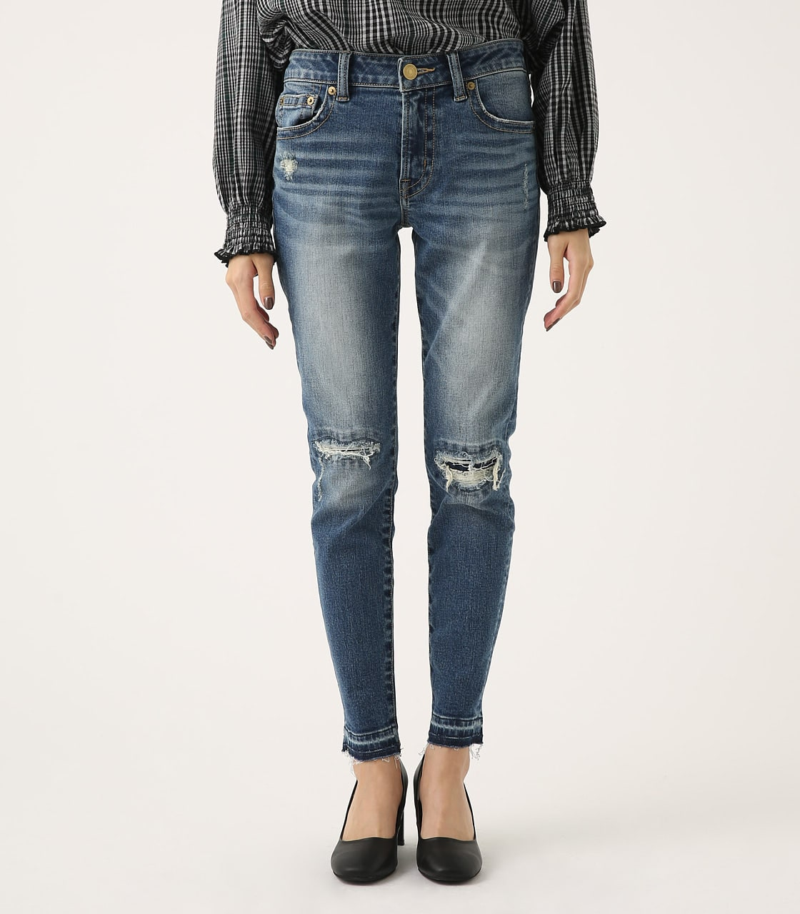 【AZUL BY MOUSSY】REPAIR DENIM SKINNY 詳細画像 BLU 5