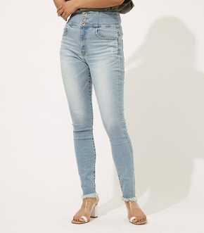【AZUL BY MOUSSY】HIGH WAIST BUTTON DENIM SKINNY【MOOK50掲載 90101】