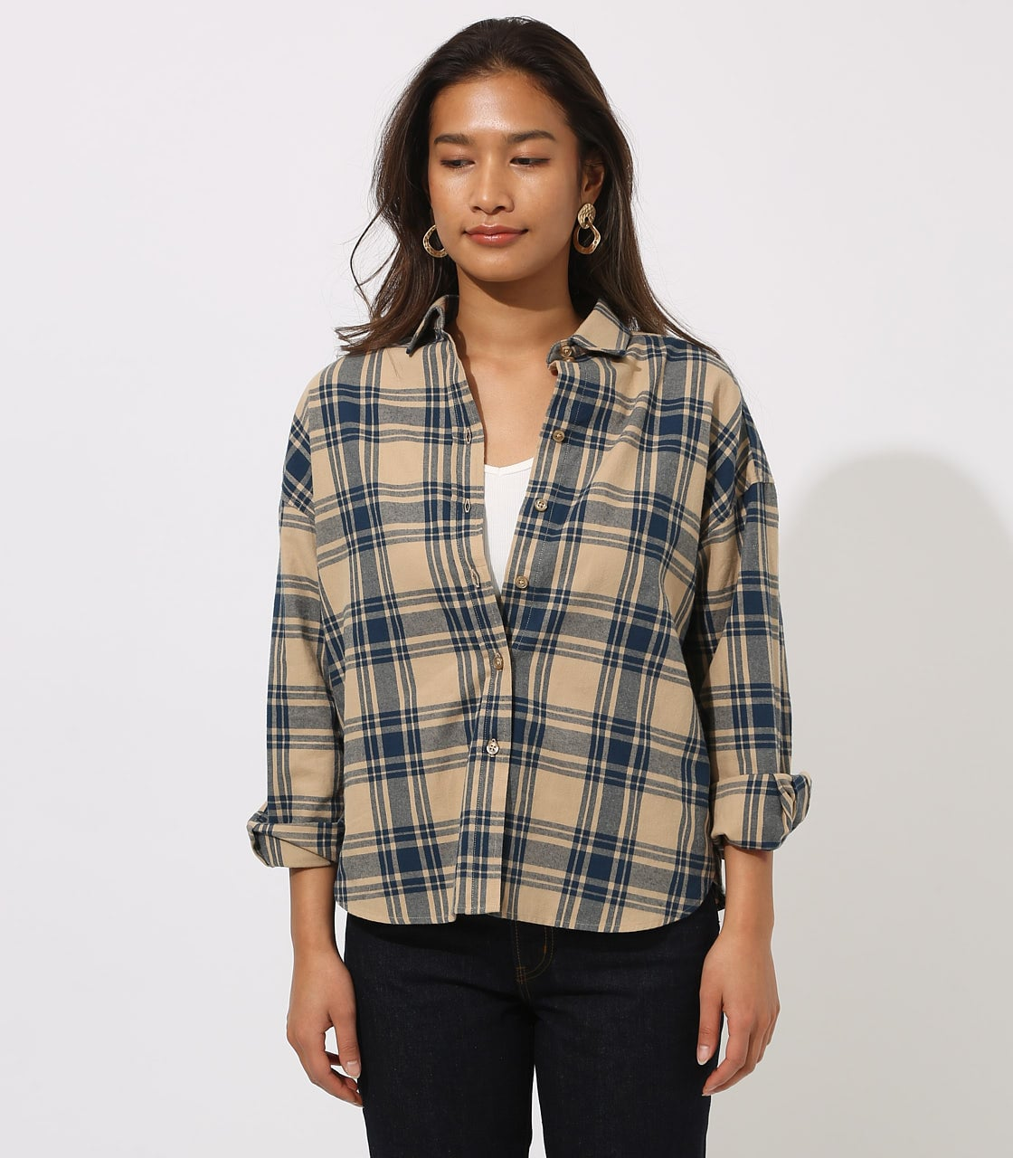 CHECK DROP SHOULDER SHIRT 詳細画像 柄BEG 5