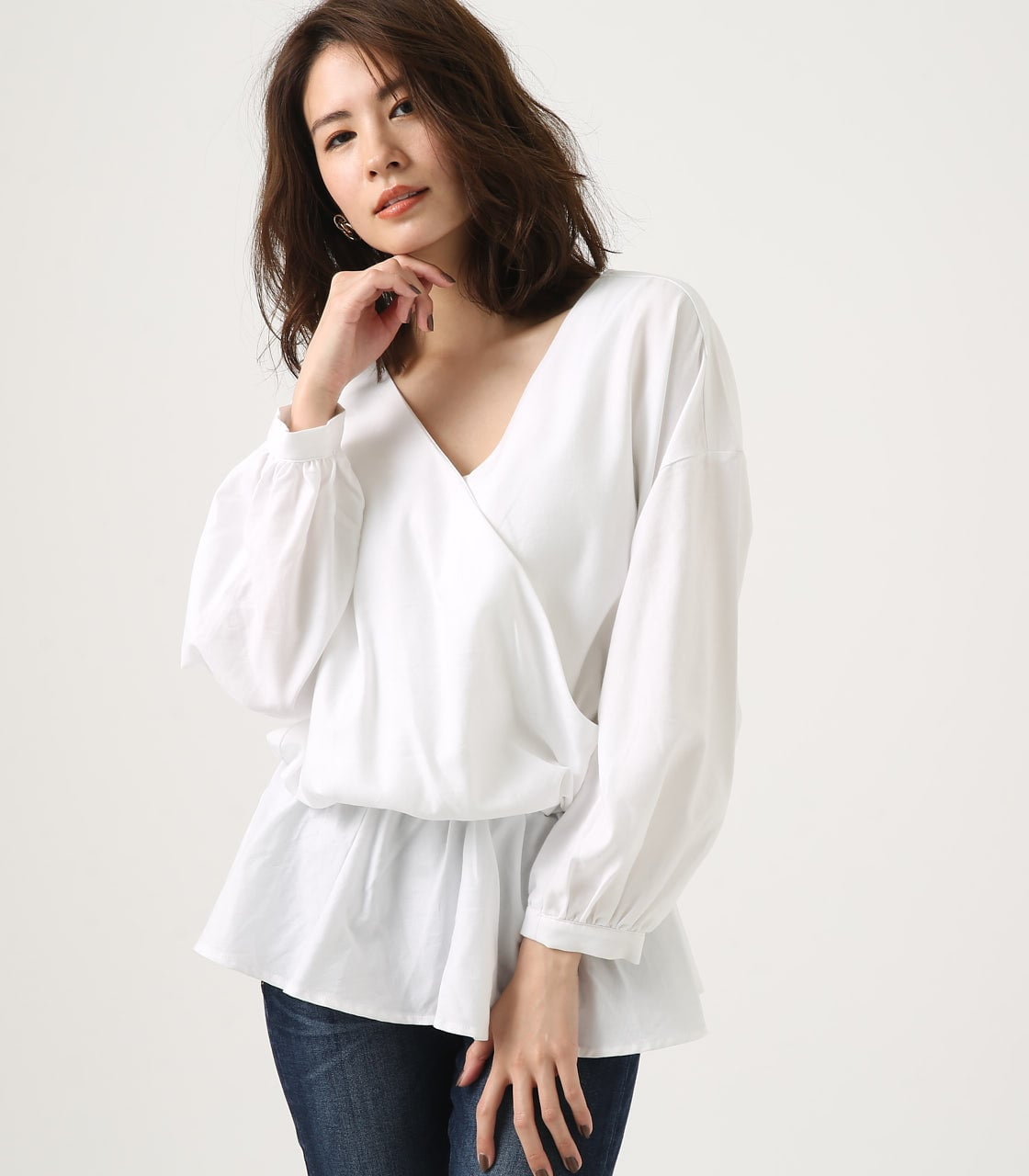 KASHKUR GATHER BLOUSE 詳細画像 O/WHT 1