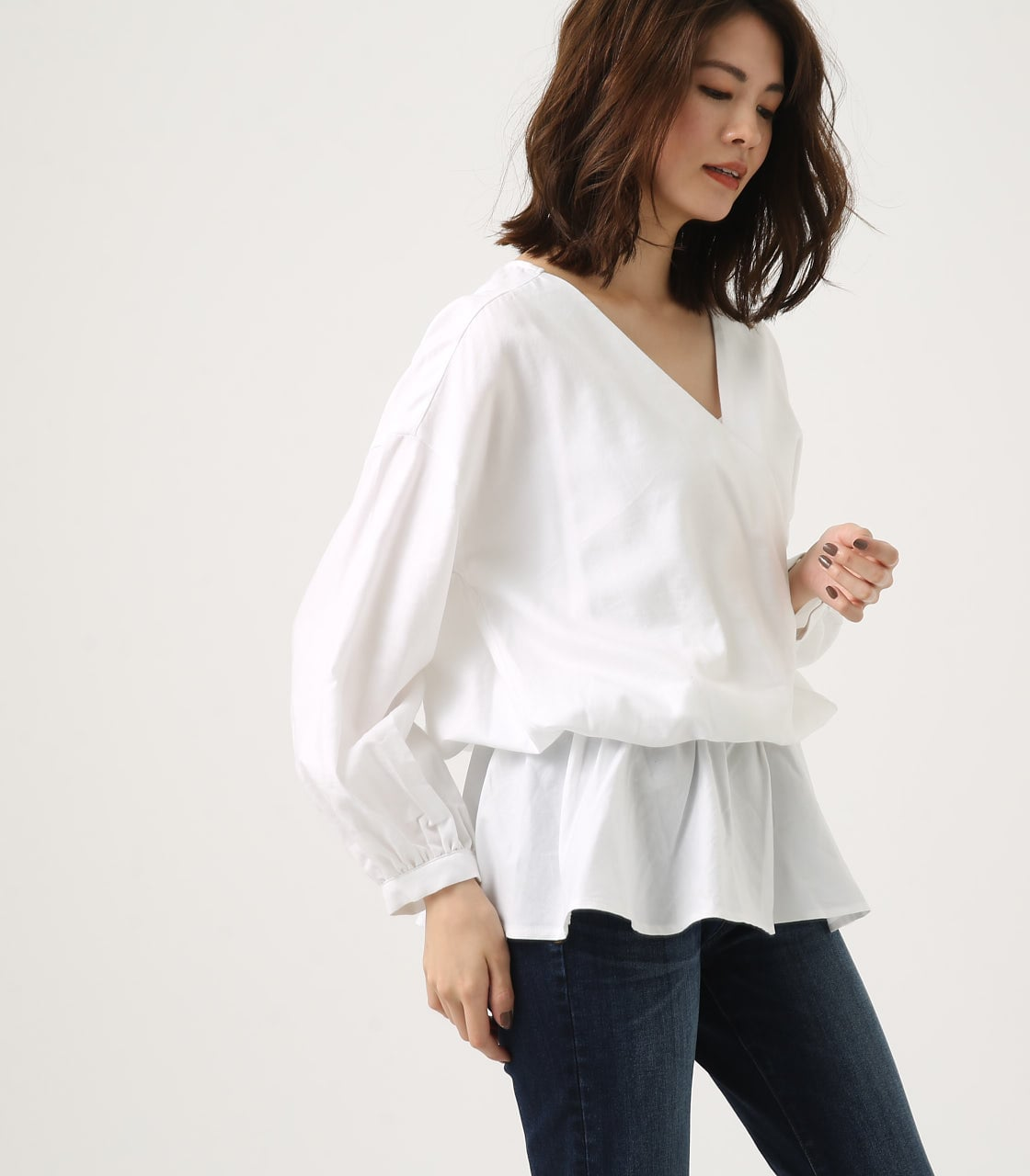 KASHKUR GATHER BLOUSE 詳細画像 O/WHT 2