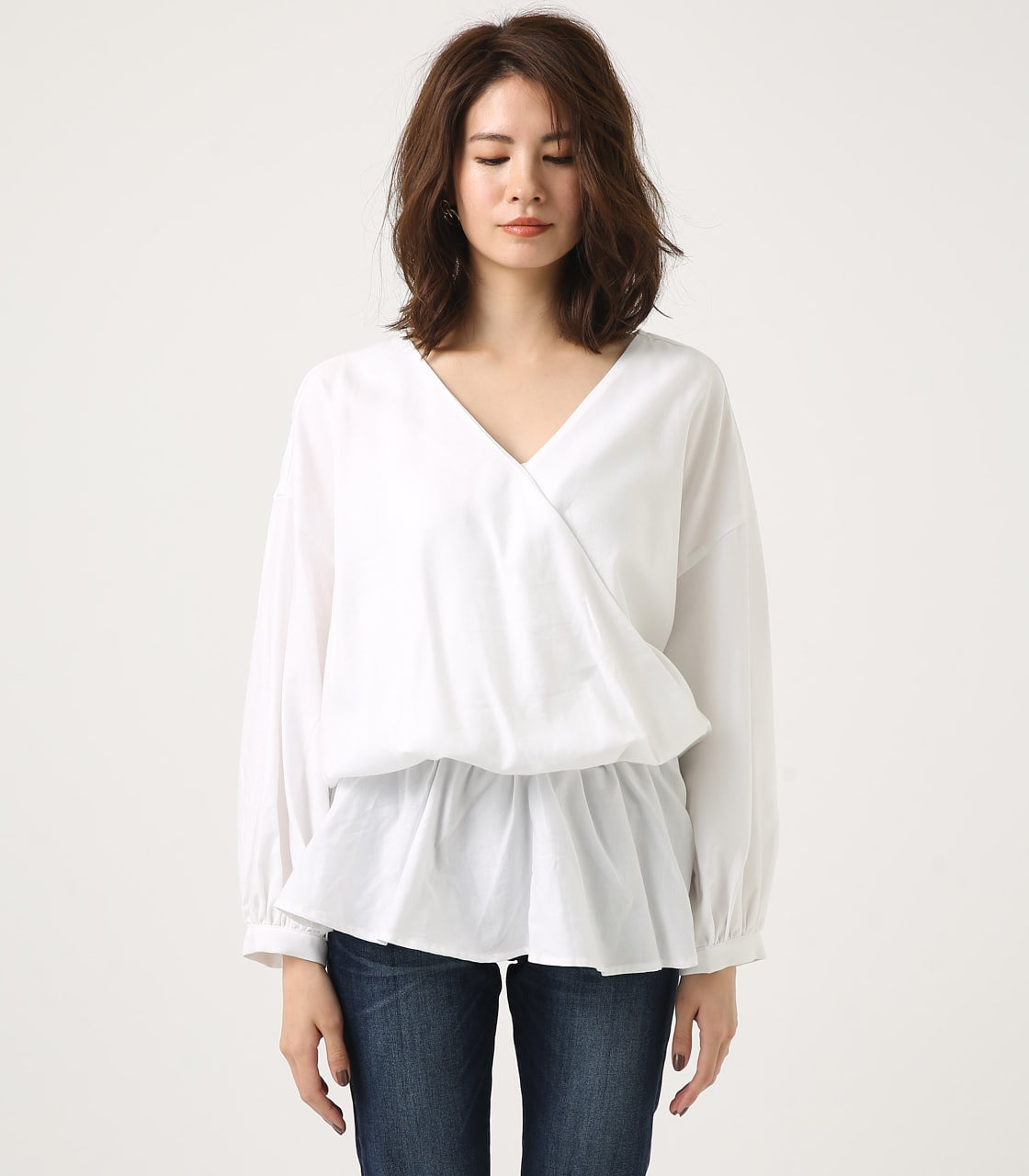 KASHKUR GATHER BLOUSE 詳細画像 O/WHT 5