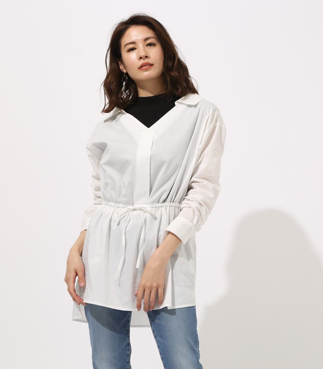 【AZUL BY MOUSSY】Waist shirring layered blouse 詳細画像 O/WHT 1
