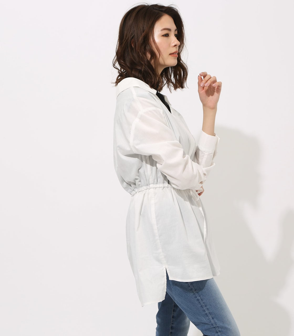 【AZUL BY MOUSSY】Waist shirring layered blouse 詳細画像 O/WHT 2