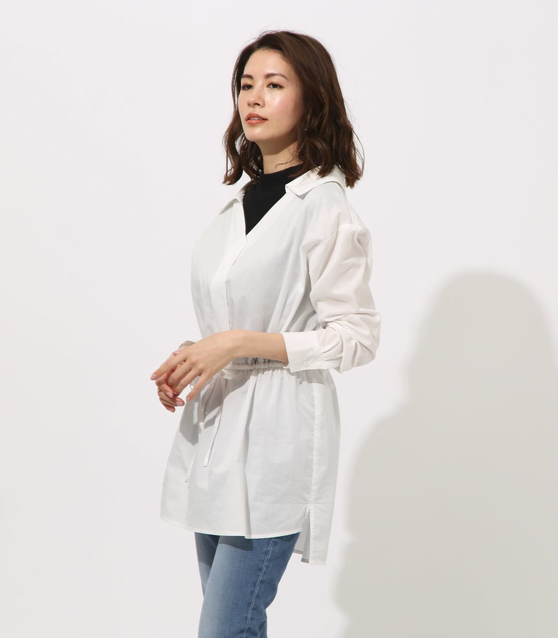 【AZUL BY MOUSSY】Waist shirring layered blouse 詳細画像 O/WHT 3
