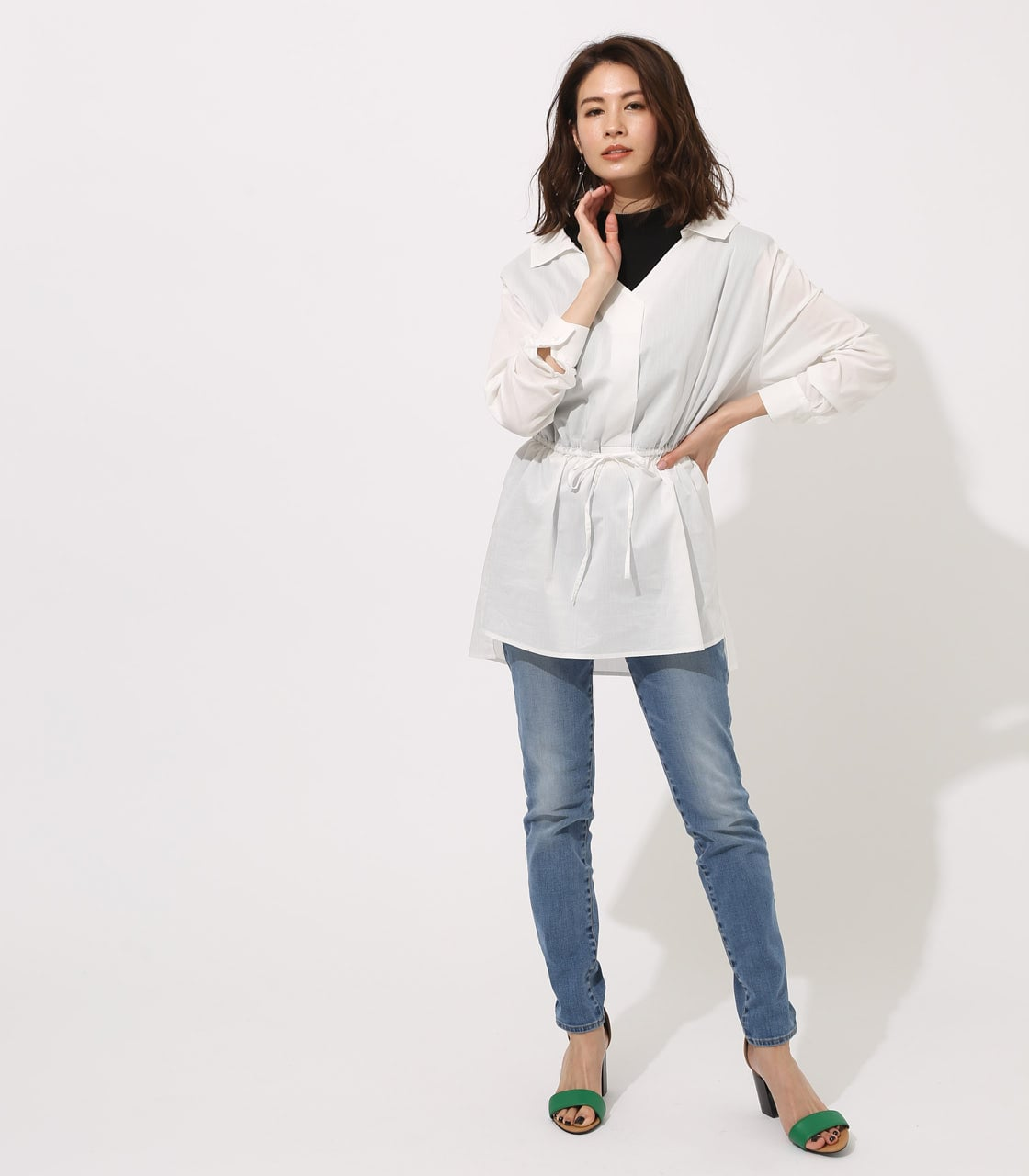 【AZUL BY MOUSSY】Waist shirring layered blouse 詳細画像 O/WHT 4