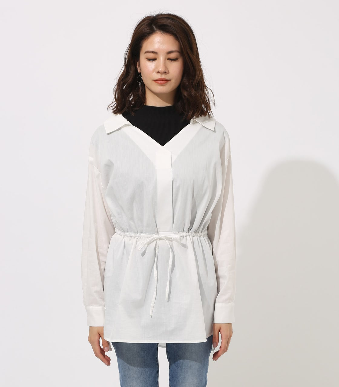 【AZUL BY MOUSSY】Waist shirring layered blouse 詳細画像 O/WHT 5
