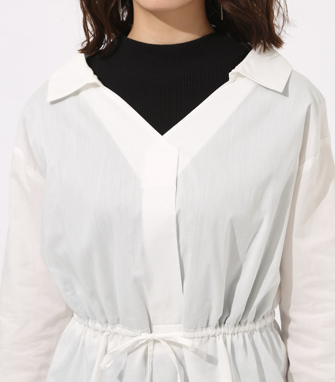 【AZUL BY MOUSSY】Waist shirring layered blouse 詳細画像 O/WHT 8