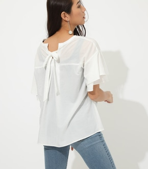 【AZUL BY MOUSSY】BACK RIBBON FRILL BLOUSE【MOOK50掲載 90121】