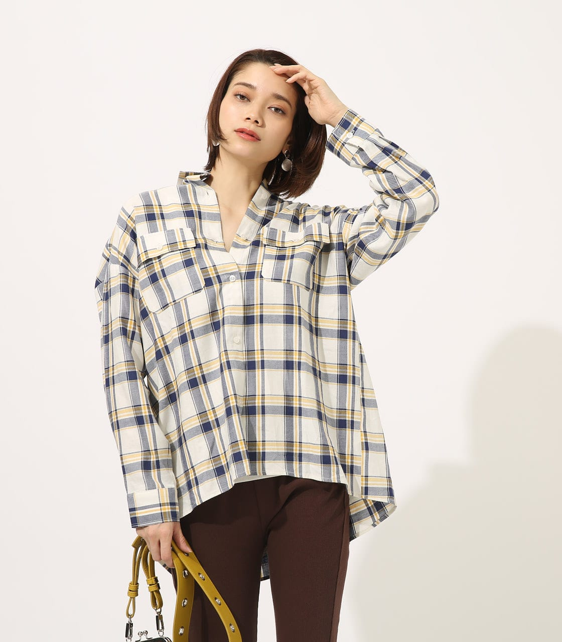 【AZUL BY MOUSSY】MADRAS CHECK SHIRT【MOOK50掲載 90135】 詳細画像 柄WHT 1