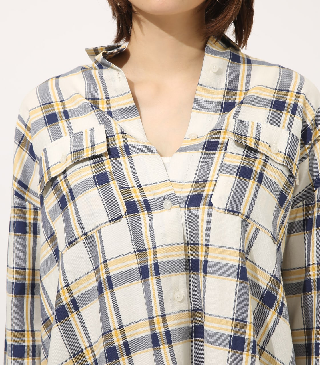 【AZUL BY MOUSSY】MADRAS CHECK SHIRT【MOOK50掲載 90135】 詳細画像 柄WHT 7