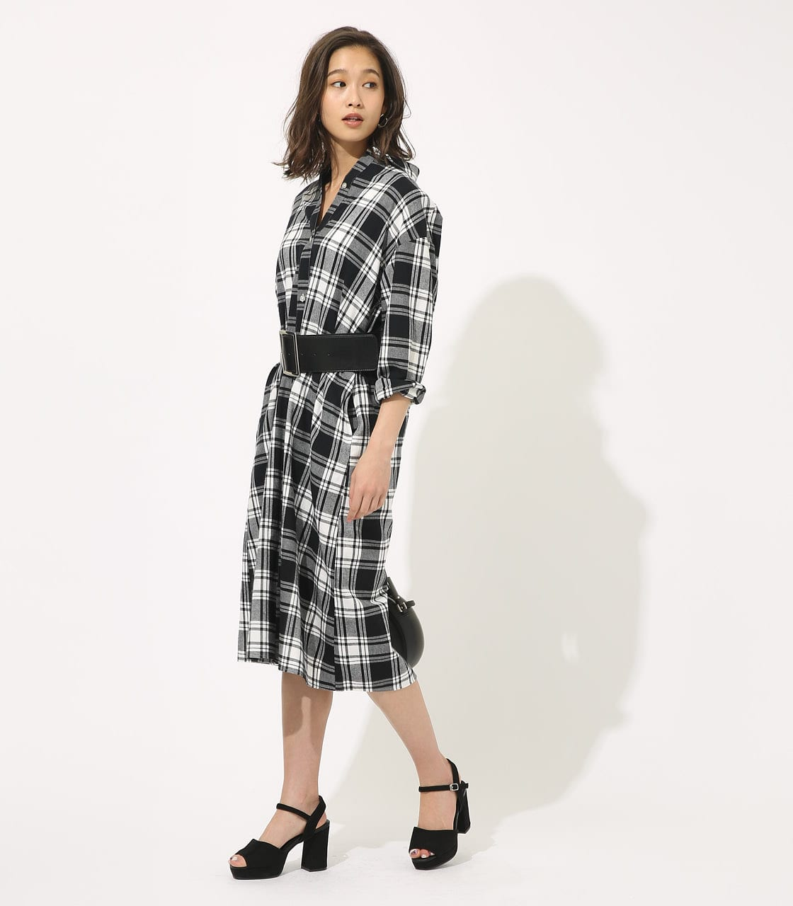【AZUL BY MOUSSY】CHECK ONEPIECE 詳細画像 柄BLK 1