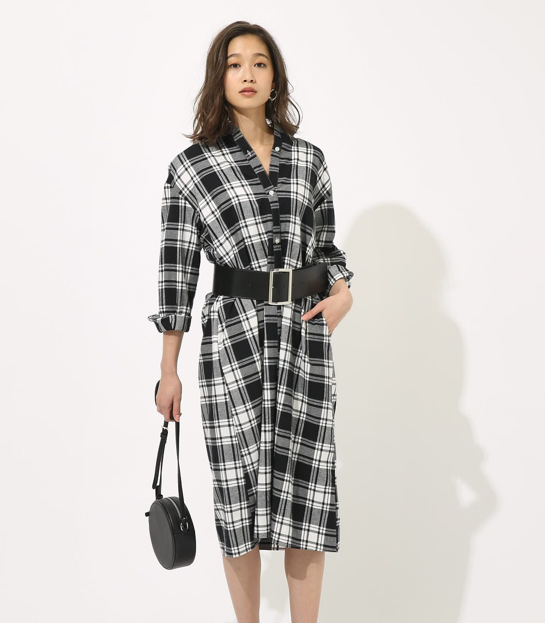 【AZUL BY MOUSSY】CHECK ONEPIECE 詳細画像 柄BLK 2