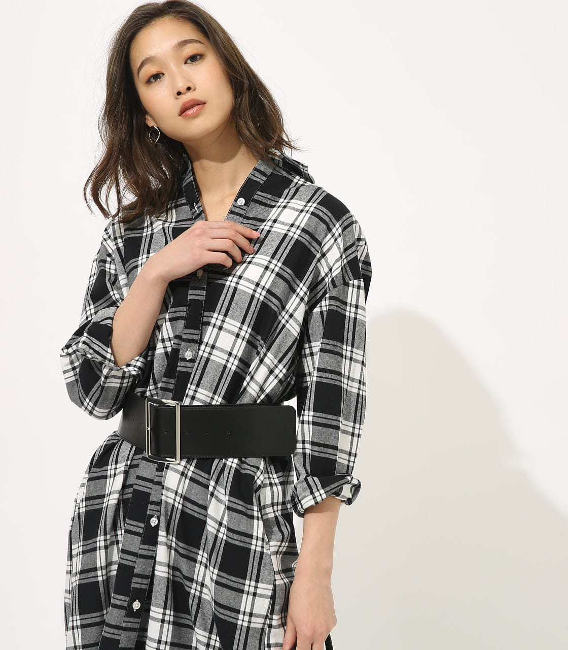 【AZUL BY MOUSSY】CHECK ONEPIECE 詳細画像 柄BLK 3