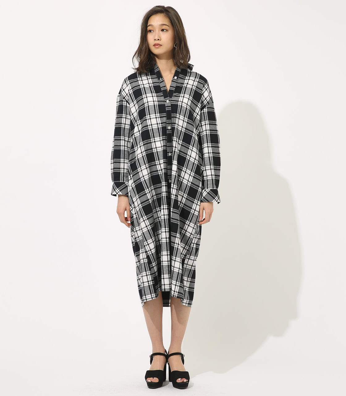 【AZUL BY MOUSSY】CHECK ONEPIECE 詳細画像 柄BLK 4