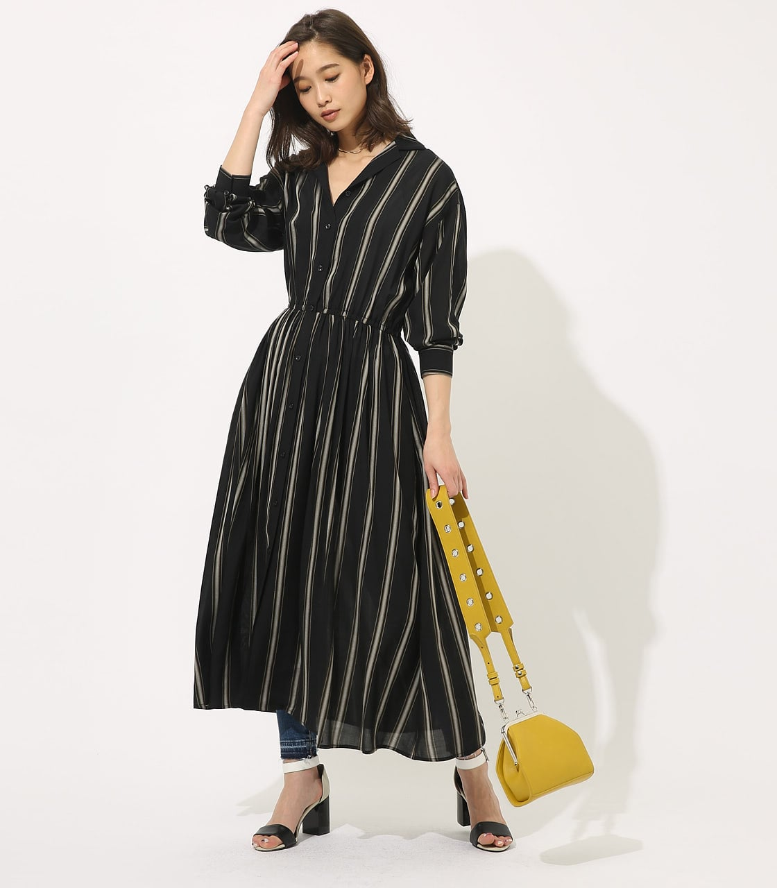 【AZUL BY MOUSSY】BROWSING MAXI ONEPIECE 【MOOK49掲載 90037】 詳細画像 柄BLK 1