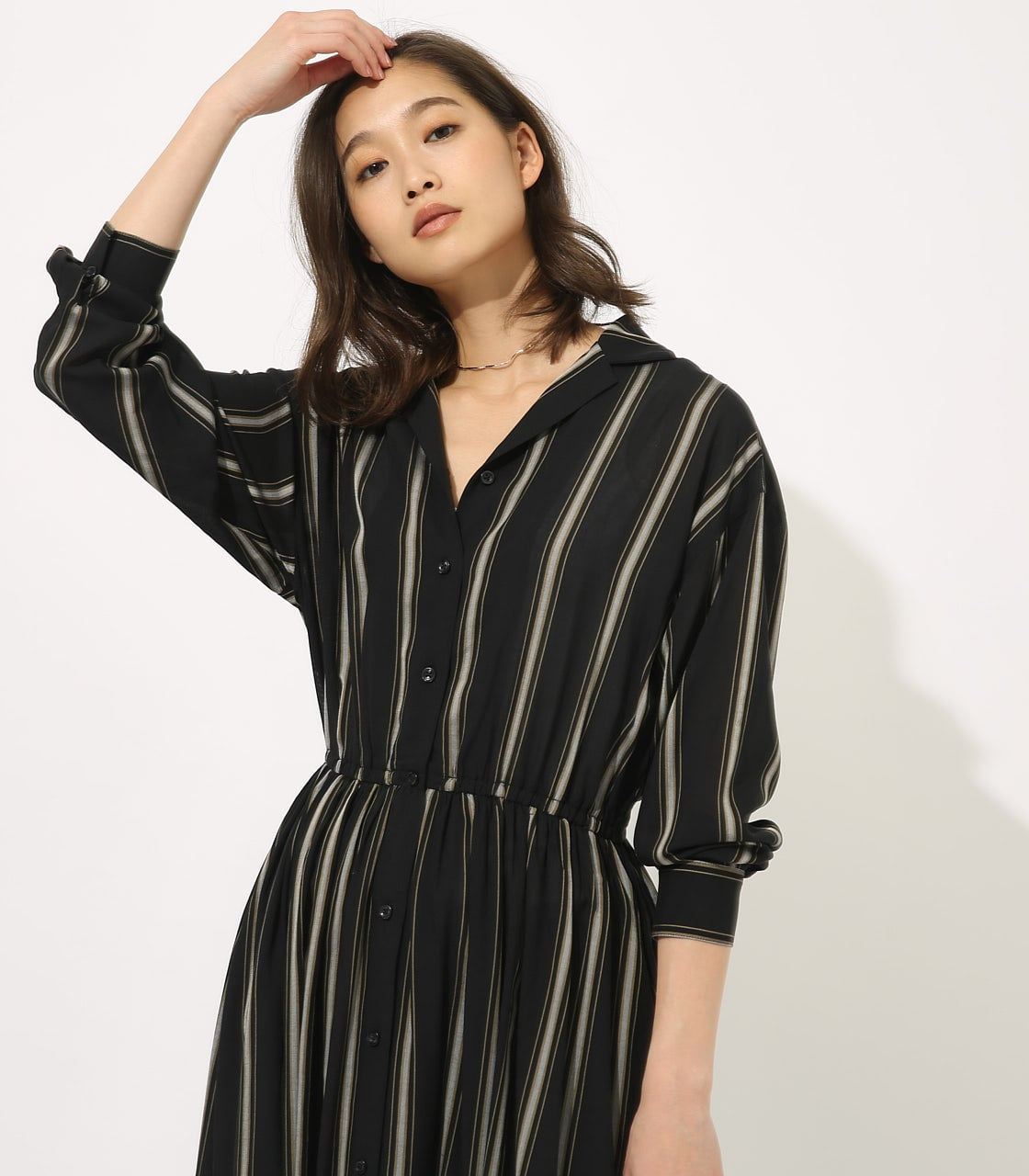 【AZUL BY MOUSSY】BROWSING MAXI ONEPIECE 【MOOK49掲載 90037】 詳細画像 柄BLK 2