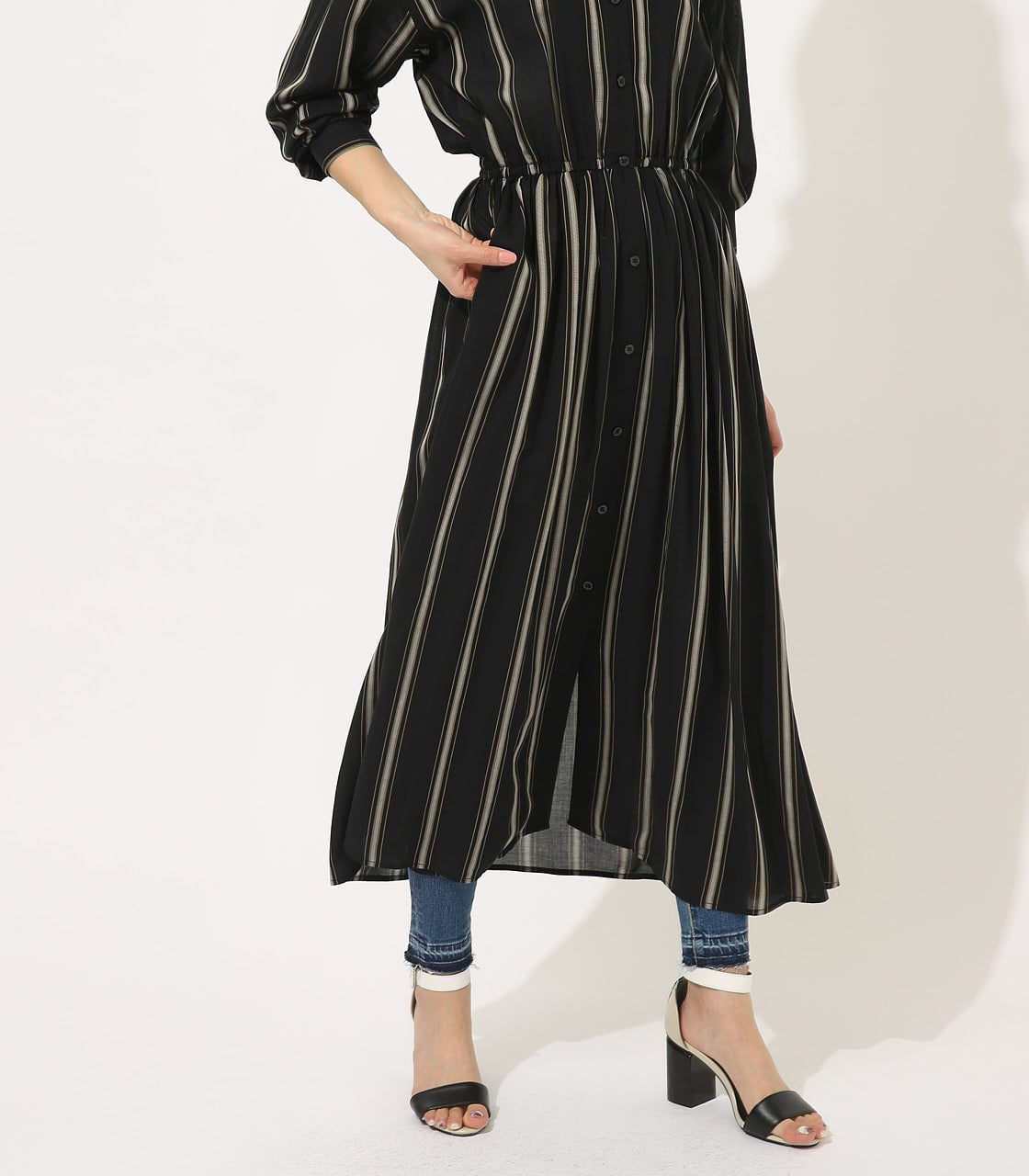 【AZUL BY MOUSSY】BROWSING MAXI ONEPIECE 【MOOK49掲載 90037】 詳細画像 柄BLK 3