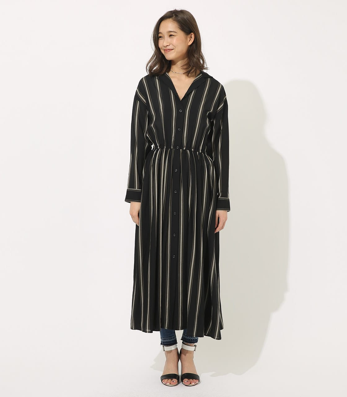 【AZUL BY MOUSSY】BROWSING MAXI ONEPIECE 【MOOK49掲載 90037】 詳細画像 柄BLK 4