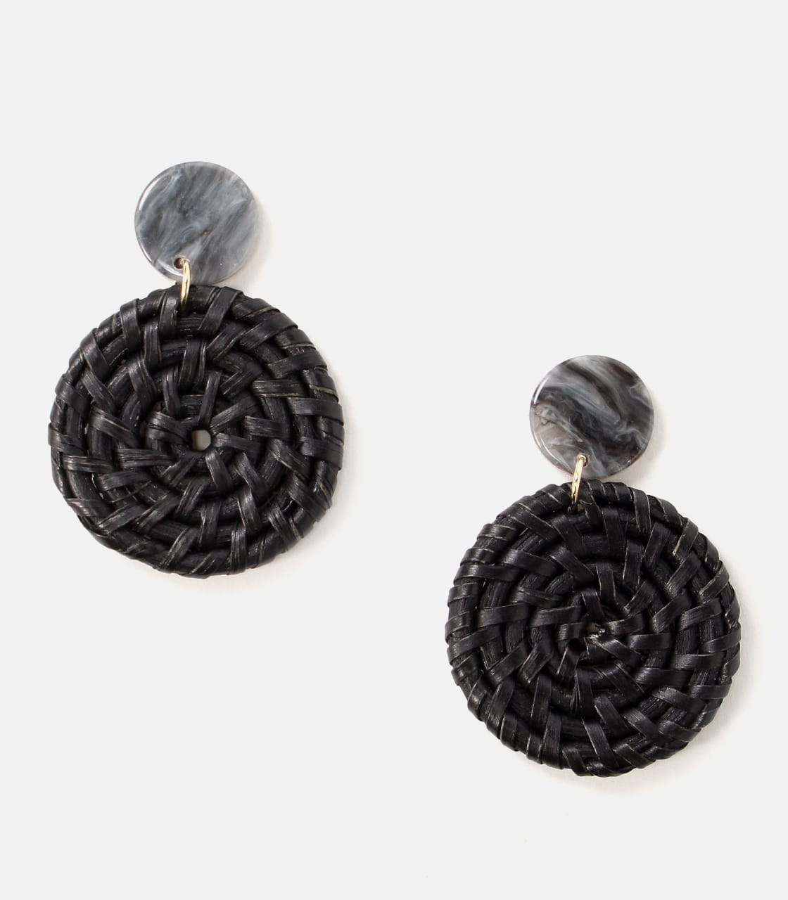 【AZUL BY MOUSSY】CIRCLE RATTAN EARRINGS 詳細画像 BLK 1