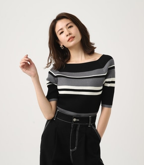 《5月8日まで期間限定価格》【AZUL BY MOUSSY】HALF SLEEVE BORDER KNIT TOPS 【MOOK49掲載 90034】