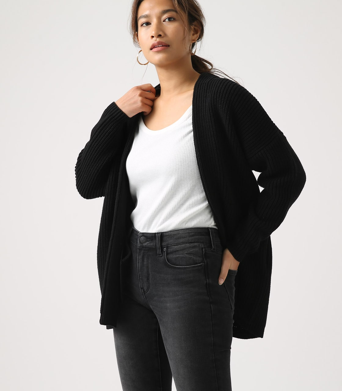 【AZUL BY MOUSSY】LOWGAUGE LONG KNIT CARDIGAN 詳細画像 BLK 1