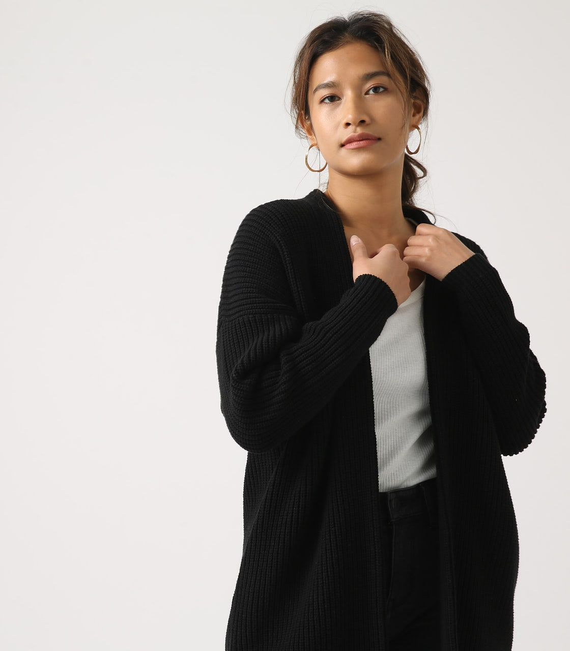 【AZUL BY MOUSSY】LOWGAUGE LONG KNIT CARDIGAN 詳細画像 BLK 2