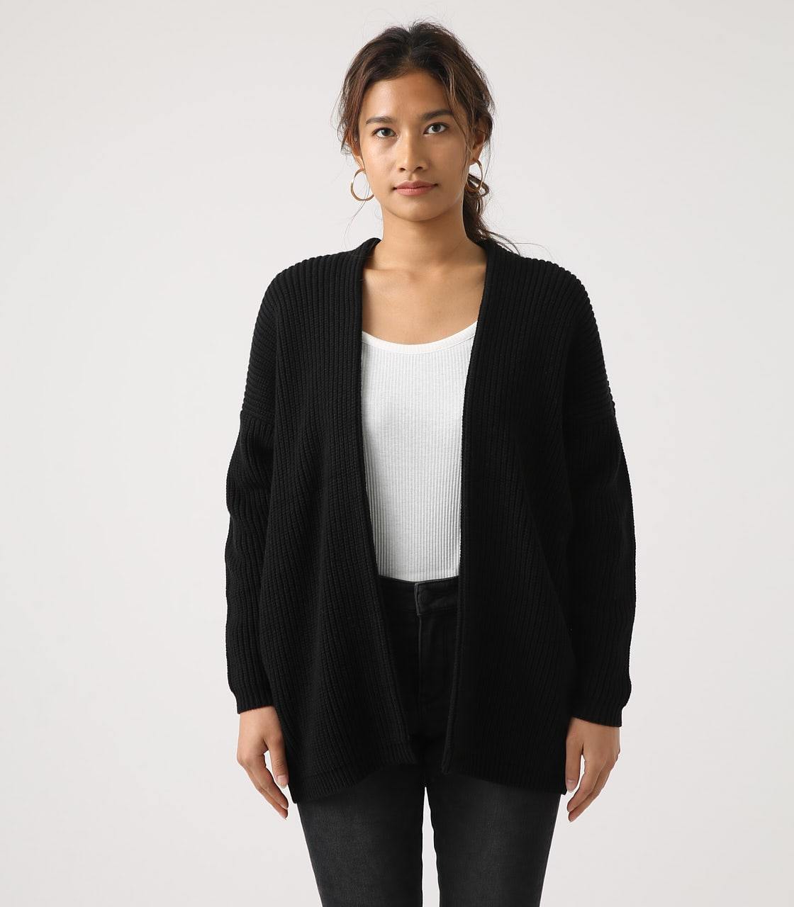【AZUL BY MOUSSY】LOWGAUGE LONG KNIT CARDIGAN 詳細画像 BLK 5
