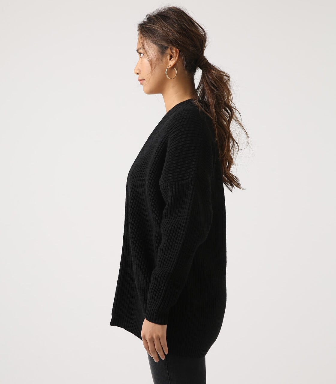 【AZUL BY MOUSSY】LOWGAUGE LONG KNIT CARDIGAN 詳細画像 BLK 6