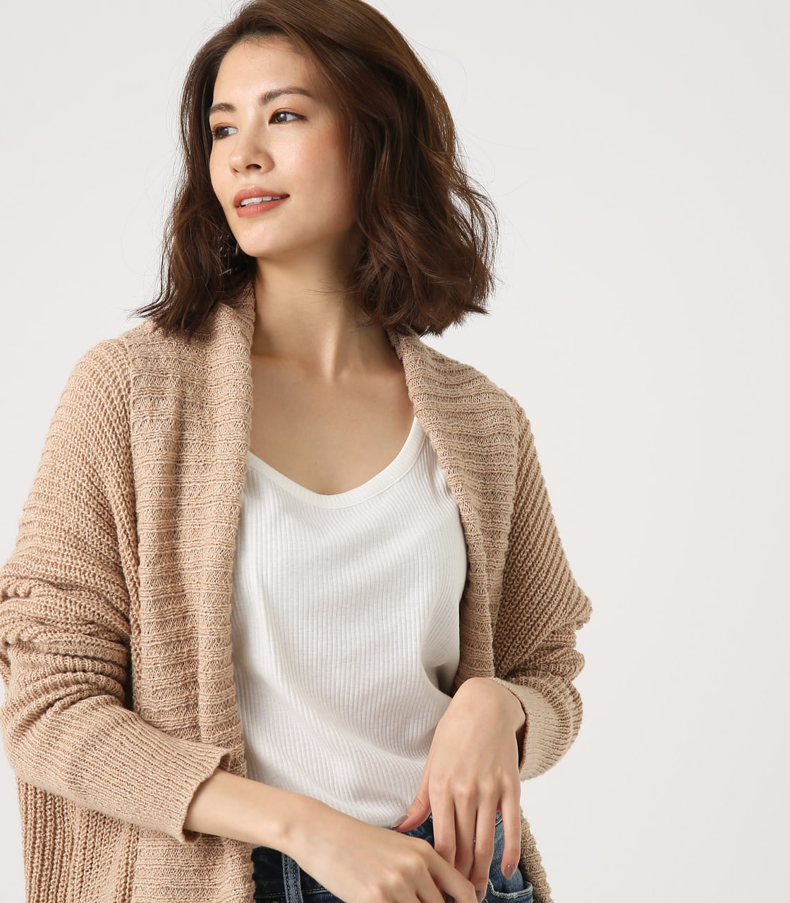 BIG SHAWL TOPPER CARDIGAN 詳細画像 BEG 3