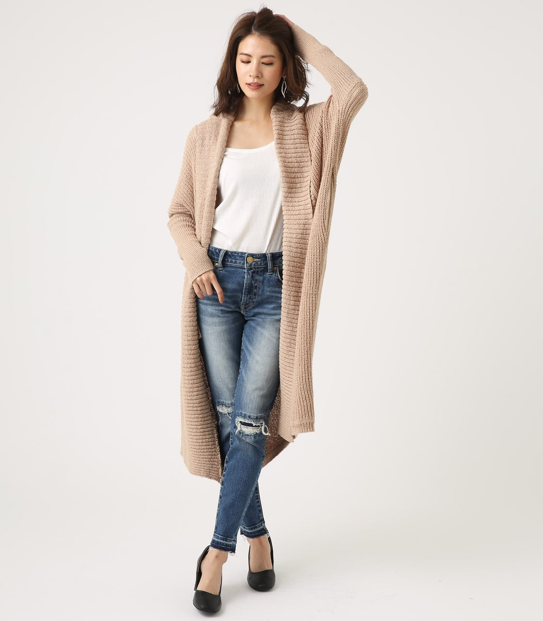 BIG SHAWL TOPPER CARDIGAN 詳細画像 BEG 4