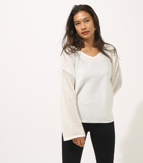 【AZUL BY MOUSSY】CROCHET SLEEVE KNIT TOPS