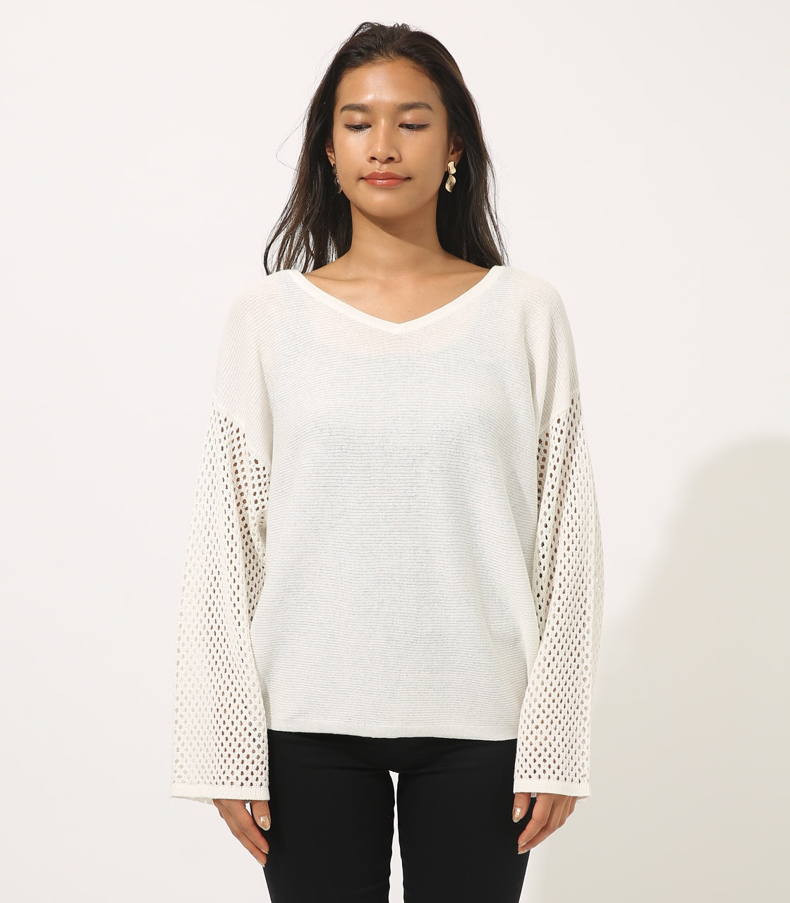 【AZUL BY MOUSSY】CROCHET SLEEVE KNIT TOPS 詳細画像 O/WHT 4