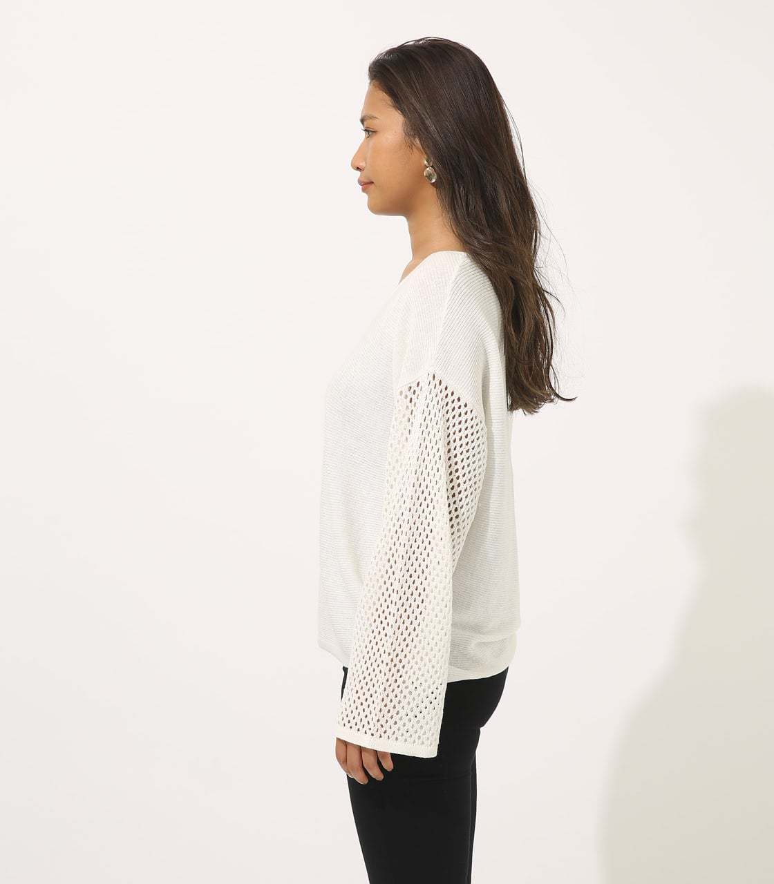 【AZUL BY MOUSSY】CROCHET SLEEVE KNIT TOPS 詳細画像 O/WHT 5