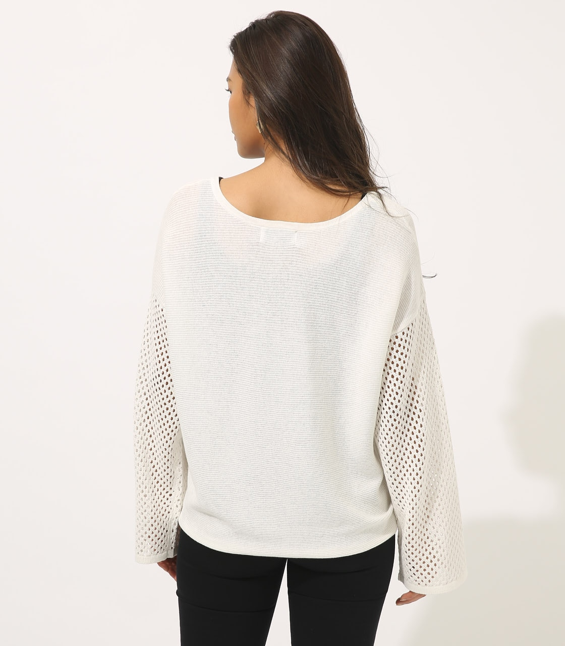 【AZUL BY MOUSSY】CROCHET SLEEVE KNIT TOPS 詳細画像 O/WHT 6