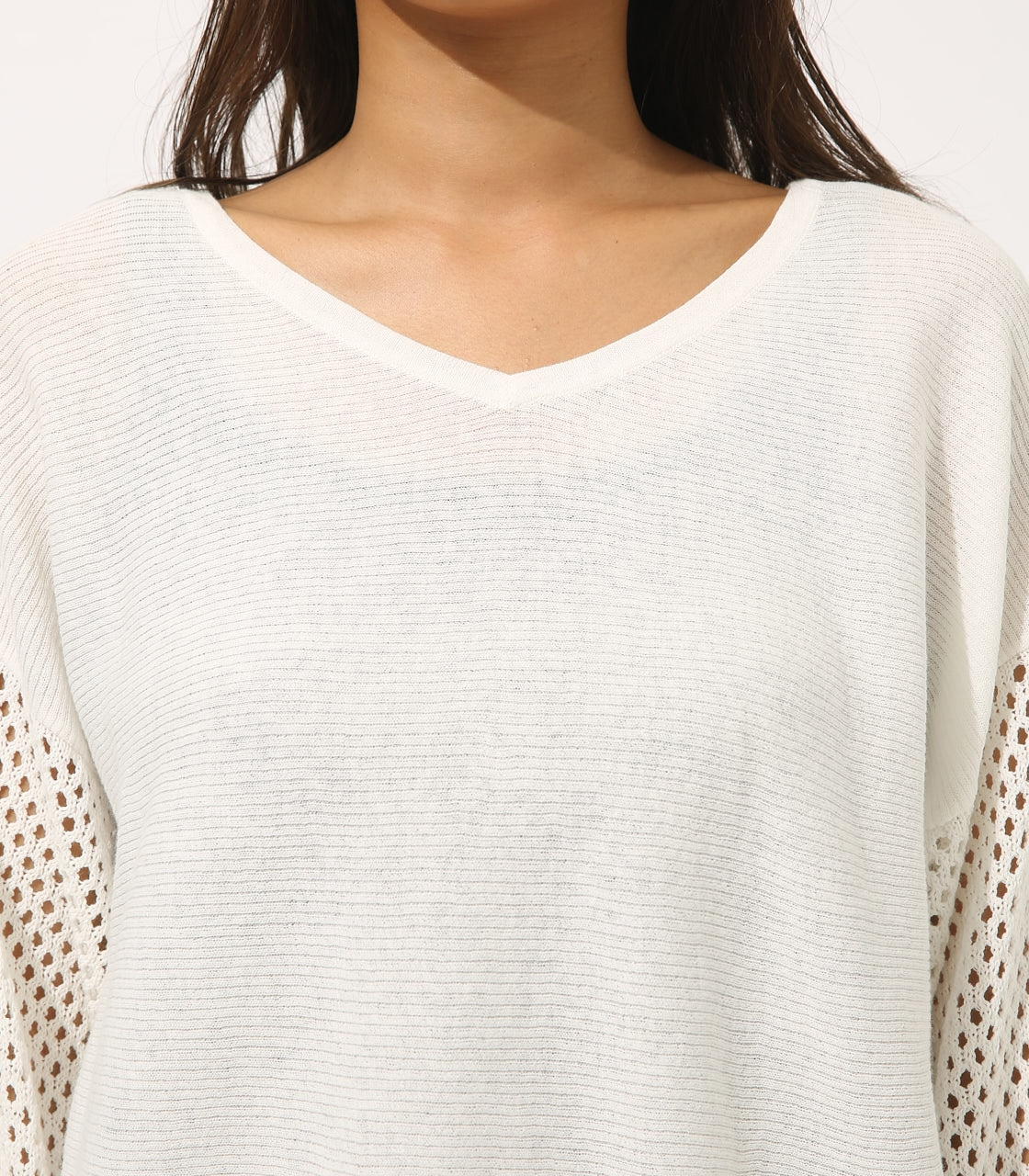 【AZUL BY MOUSSY】CROCHET SLEEVE KNIT TOPS 詳細画像 O/WHT 7