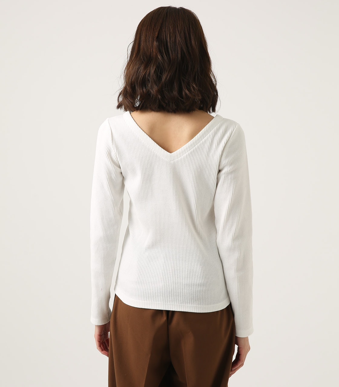 【AZUL BY MOUSSY】V NECK RIB TOPS 詳細画像 O/WHT 7